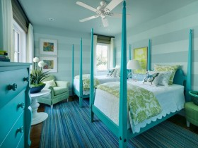Bedroom for two children in the turquoise color