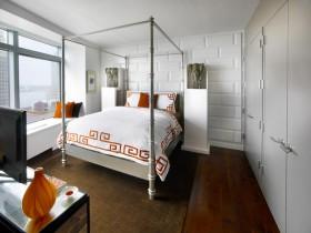 Крэатыўны інтэр'ер светлай спальні