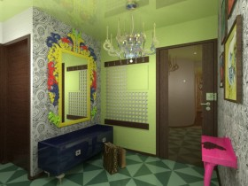 The design of the hallway in the style of kitsch