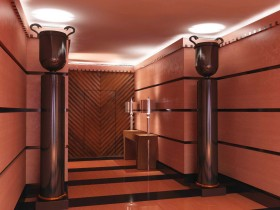 Large and luxurious entrance hall with creative lighting
