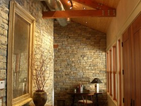 Entrance hall with brick walls, loft style