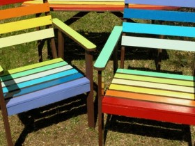 Colored chairs with table