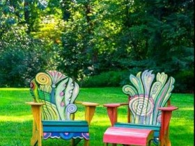 Painted garden chairs