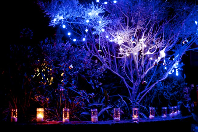 Outdoor candles in the night garden