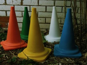Traffic cones in the garden
