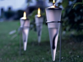 Modern torches in the garden