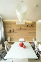 Bright dining room with wooden wall