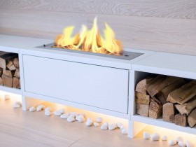 Design a fireplace on the wood in the apartment
