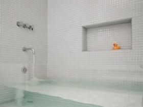 Bright bathroom with transparent bath