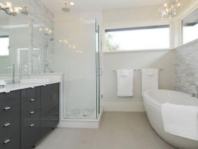 The interior of bright bathroom with elements of modernism