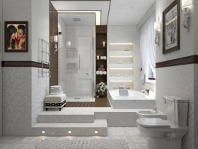Bright bathroom in the style of hi-tech