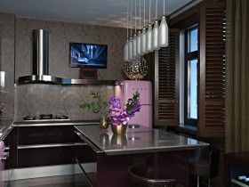 Dark kitchen with pink refrigerator