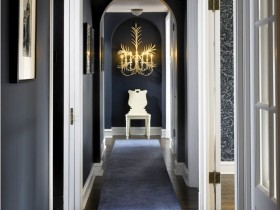 The interior hallway in dark blue
