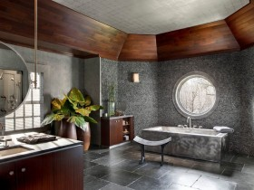 Современная ванная комната в темном цвете