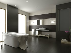 Темна ванна кімната в стилі мінімалізм