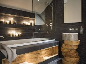Dark bathroom with wooden accents