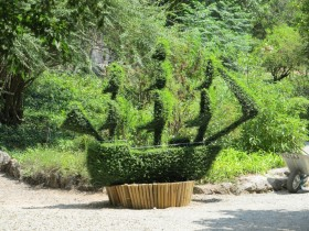 Topiary in the shape of a ship