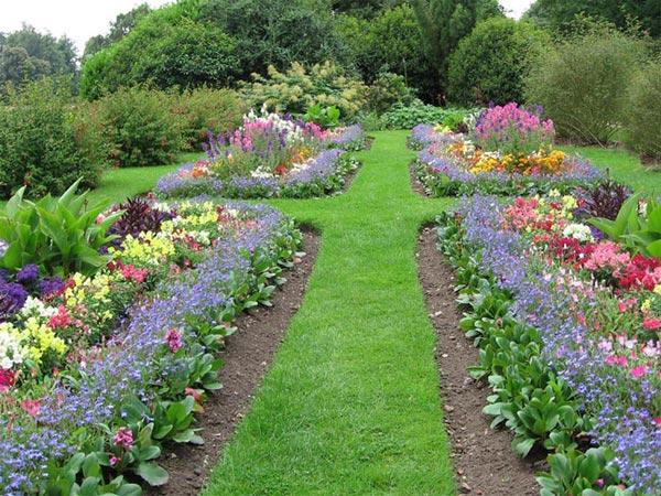 Вид травяной садовой дорожки