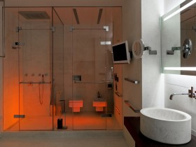 White bathroom with red backlight