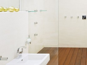 Design washbasin in white bathroom