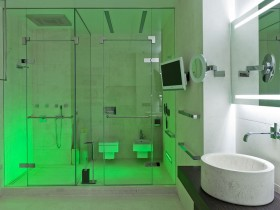 White bathroom with green lighting