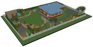 Create a landscape design project for a Villa plot area of 8 acres: manual + photo examples.