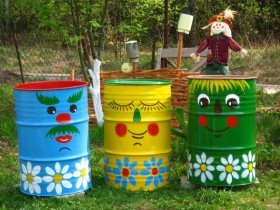 Painted barrels on the country