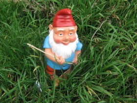 Garden gnome on the lawn