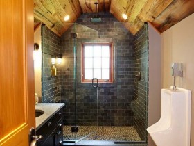Bathroom with wooden finish