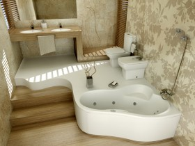 The layout of the bathroom of contemporary style