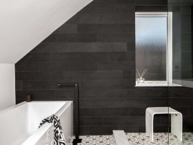 Modern bathroom in black and white color