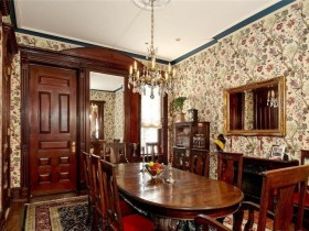 The interior of dining room in the Victorian style