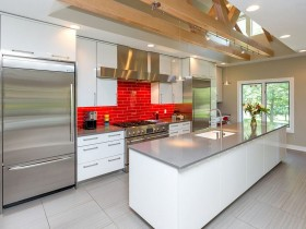 The kitchen is modern with elements of the Renaissance